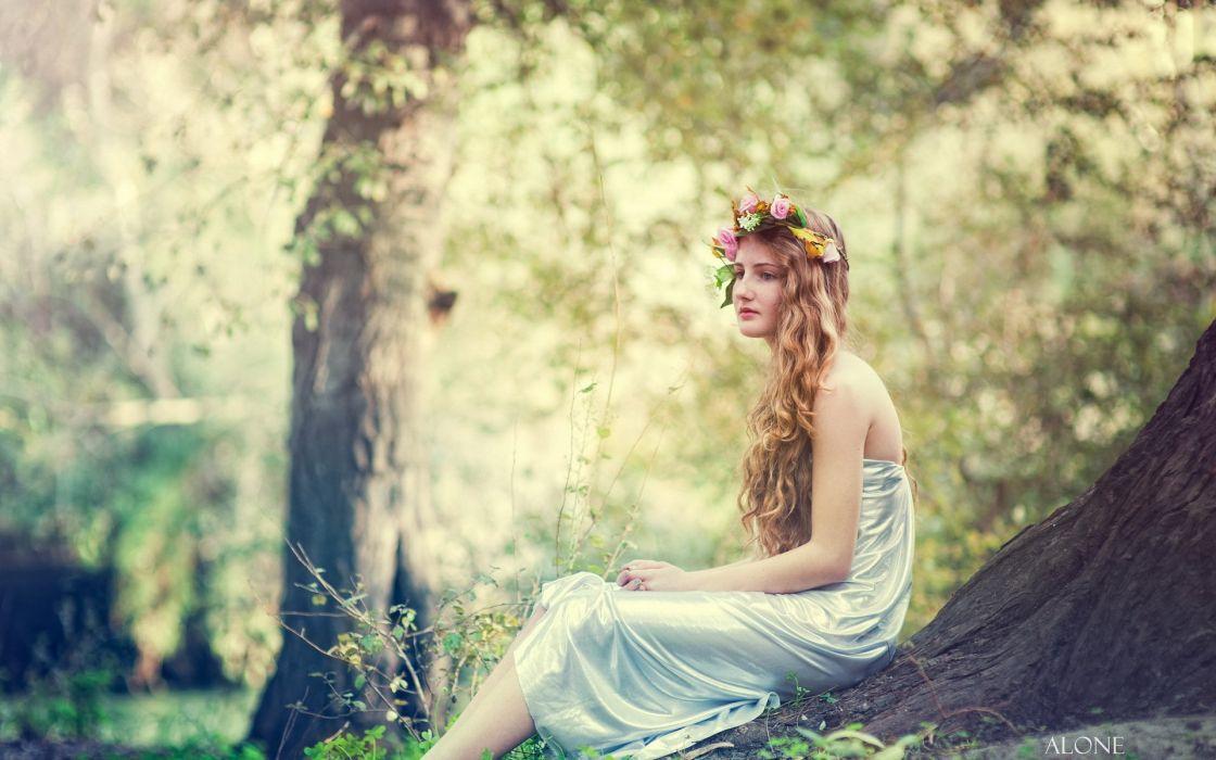 forest mood model fantasy babe wallpaper