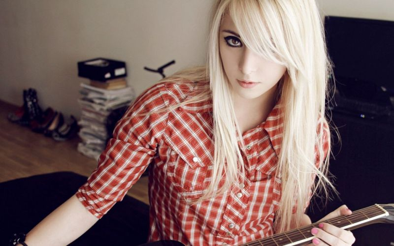 guitar blonde sexy babe mood wallpaper