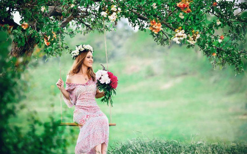 mood swing girl blossom flower model wallpaper