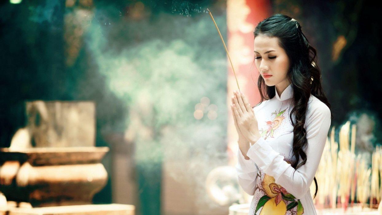 smoke asian mood religion prayer babe wallpaper