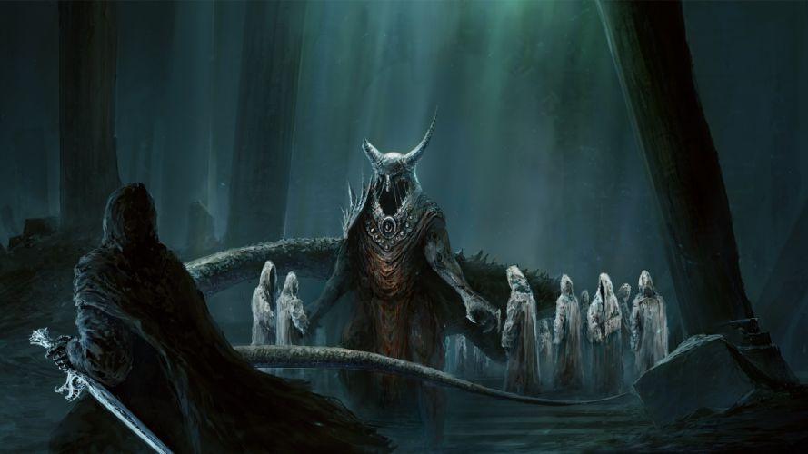 Undead underworld Lord dark demon warrior fantasy occult sword lotr lord rings wallpaper