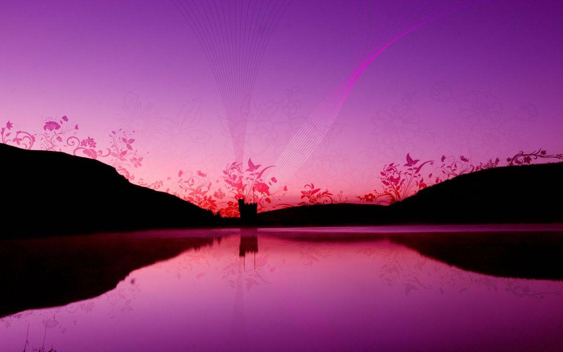 vector fantasy lake castle sunset sunrise wallpaper
