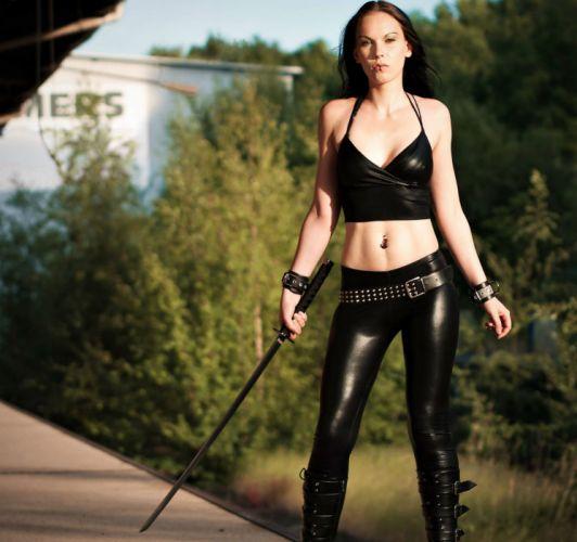 cosplay leather warrior katana sexy babe fetish hj wallpaper