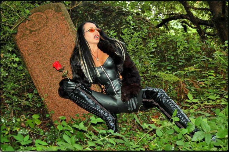 vampire fantasy dark fetish leather boots sexy babe graveyard grave goth wallpaper