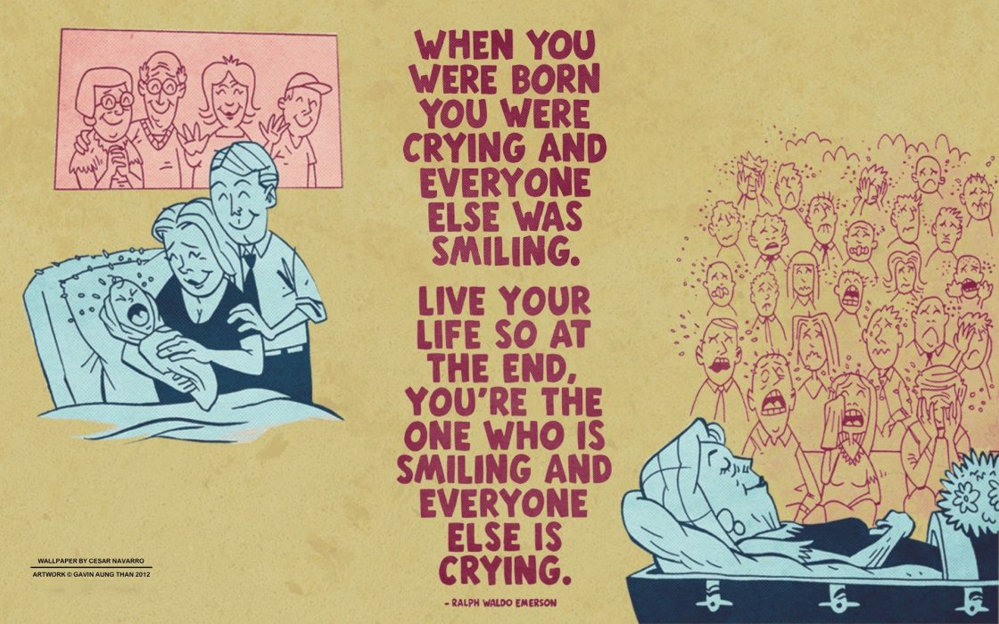 Quotes Crying Laughing Ralph Waldo Emerson Motivational Wallpaper