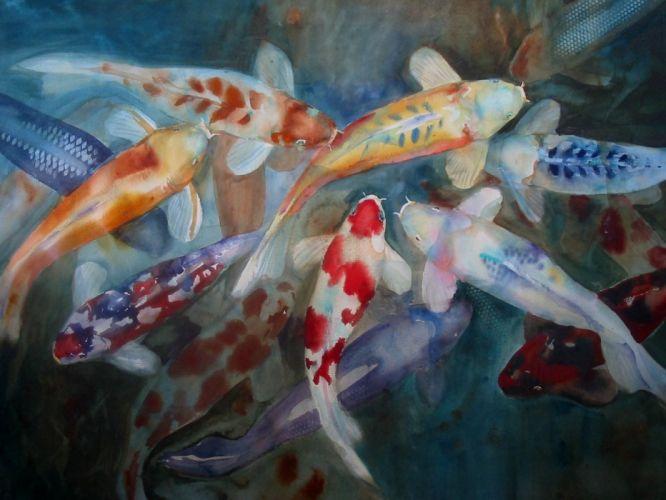 fish koi watercolor wallpaper