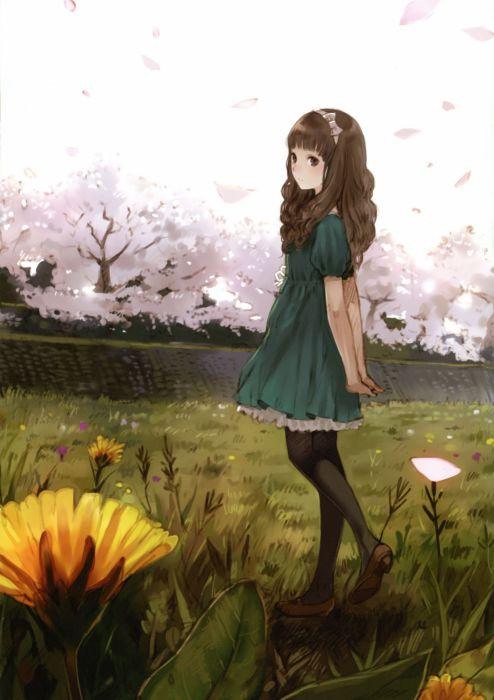brunettes dress flowers long hair blossoms scenic artwork Kishida Mel anime girls wallpaper