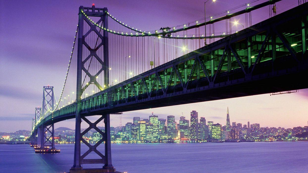 California San Francisco Bay Bridge dusk Yerba Buena Island wallpaper