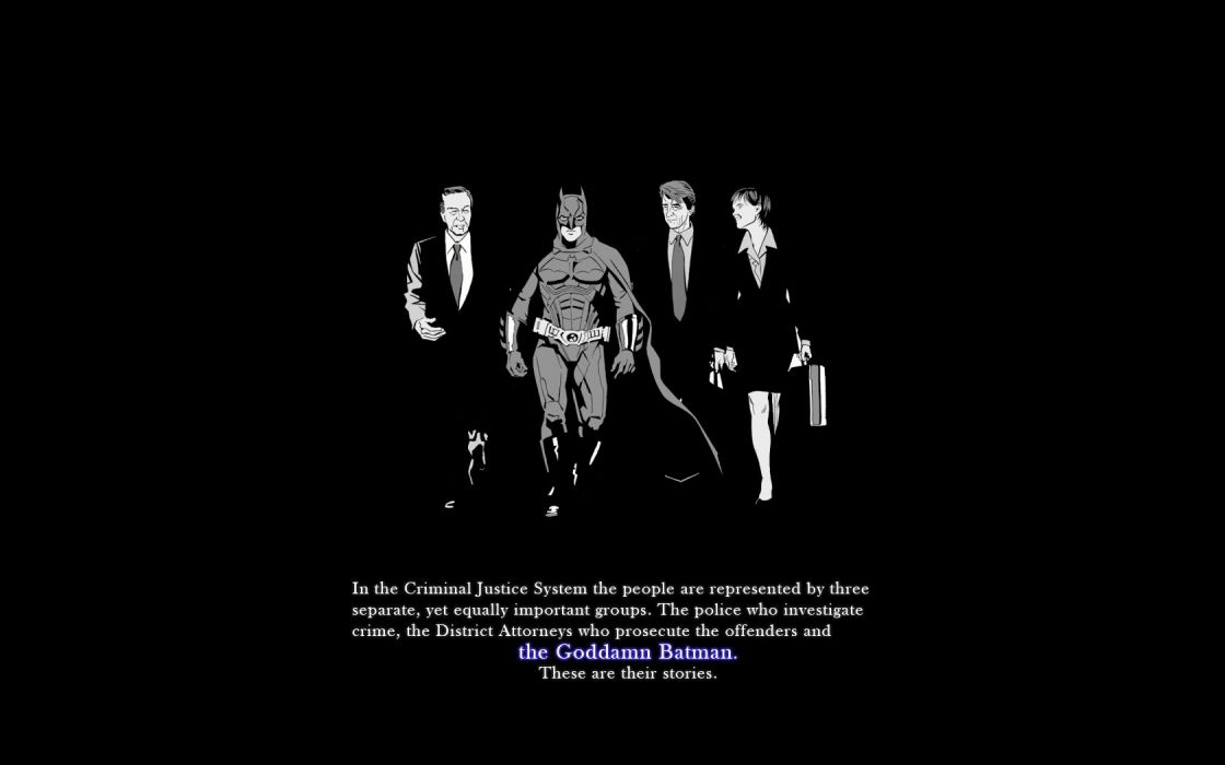 Batman text grayscale monochrome crossovers Law and Order black background wallpaper