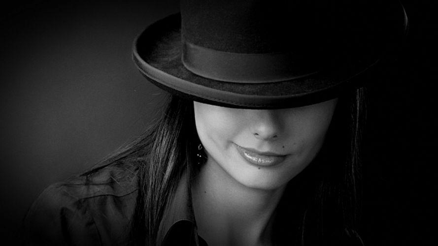 women lips smiling monochrome hats wallpaper