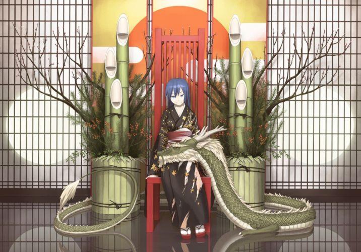 dragons blue eyes bamboo long hair blue hair plants short hair chairs reflections Japanese clothes branches wallpaper