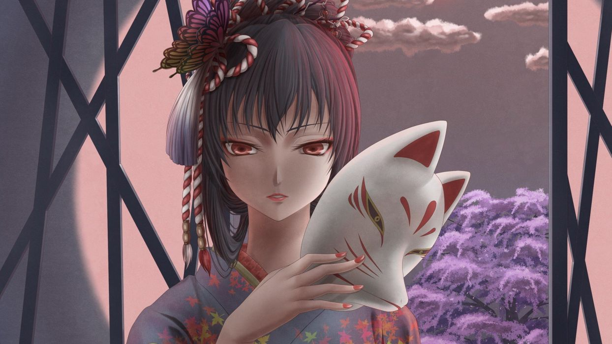 clouds cherry blossoms trees kimono red eyes masks traditional dressing Japanese clothes anime girls faces hair bun ropes nail polish hair ornaments open doors kitsunemimi black hair butterflies skies original characters wallpaper