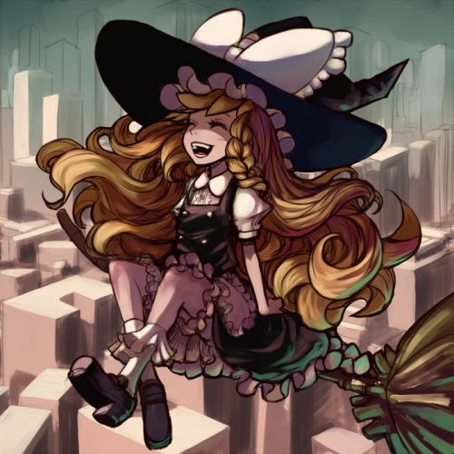 blondes video games Touhou dress flying outdoors socks buildings skyscrapers brooms Kirisame Marisa bows sitting black dress open mouth bloomers braids closed eyes aprons laughing hats anime girls witches cities wallpaper