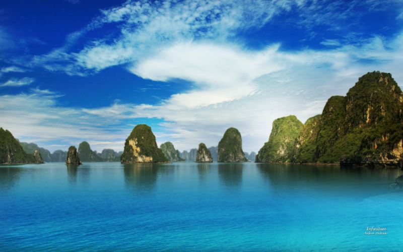 mountains clouds landscapes islands skyscapes sea wallpaper