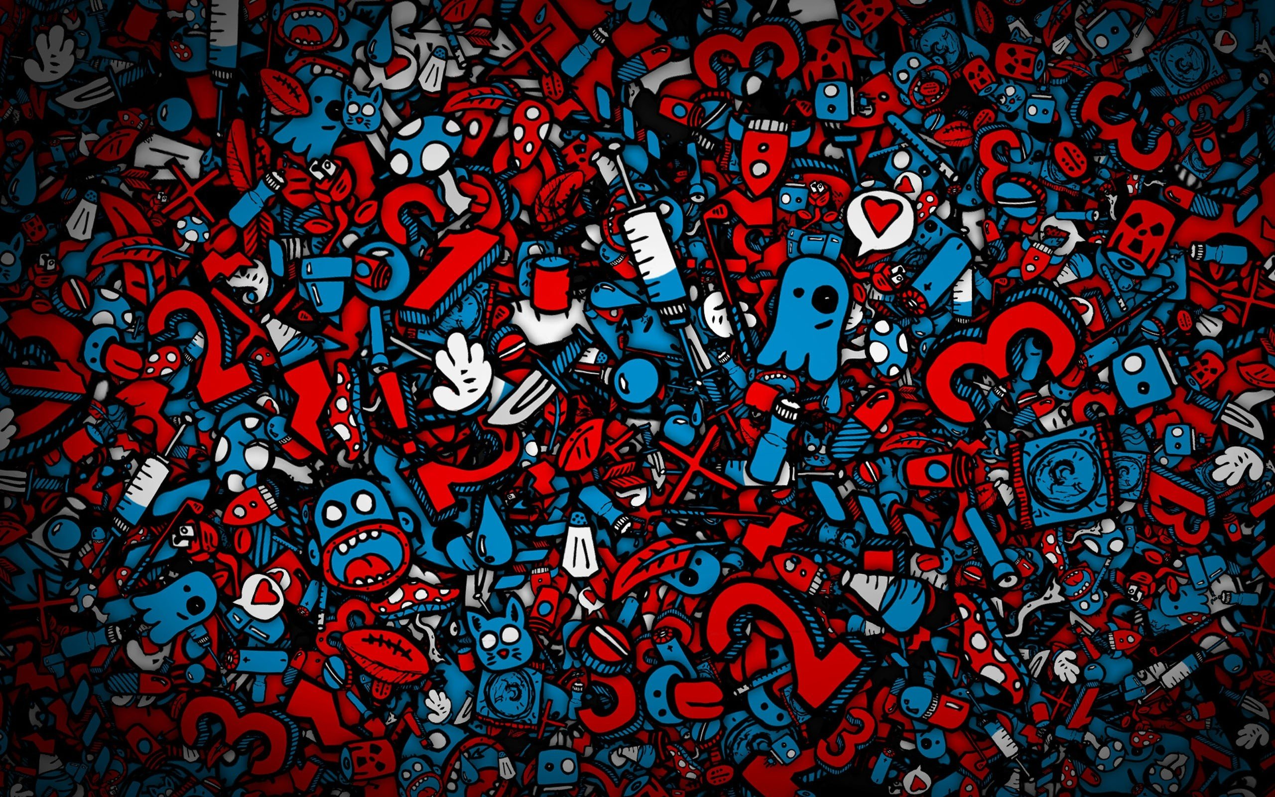 Blue red artwork characters wallpaper | 2560x1600 | 316024