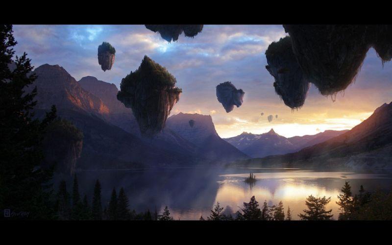 mountains mist fantasy art lakes floating islands Reid Southen wallpaper