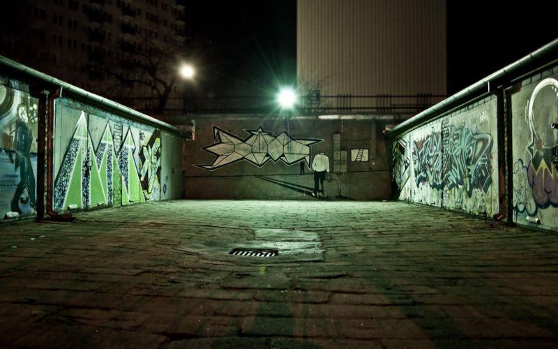 light green cityscapes night graffiti urban Poland garages urban art sidewalk wallpaper