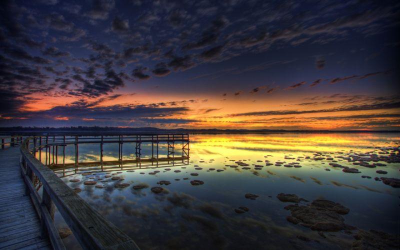 sunset clouds nature sea wallpaper
