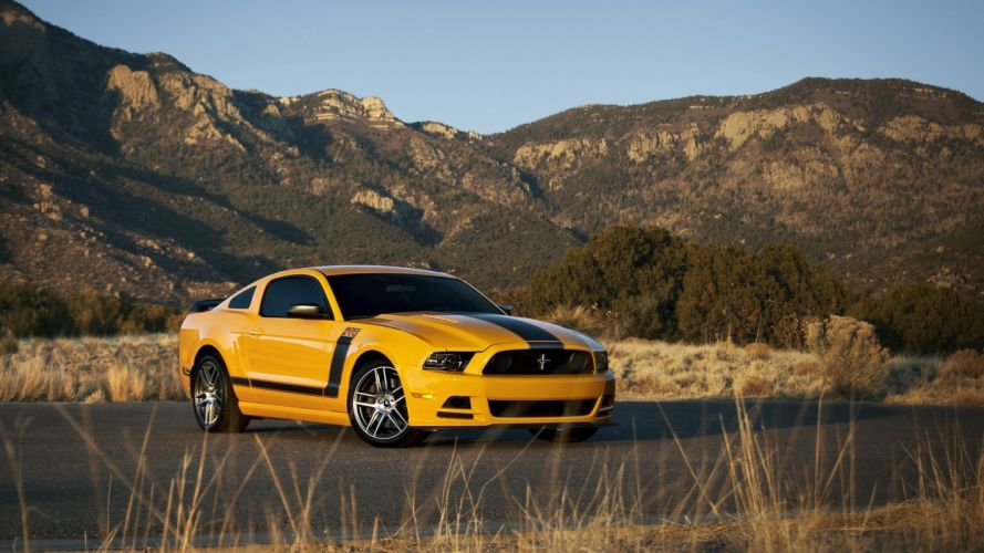 mountains nature cars Ford Mustang stripes yellow cars muscle car Boss 302 Mustang Boss wallpaper