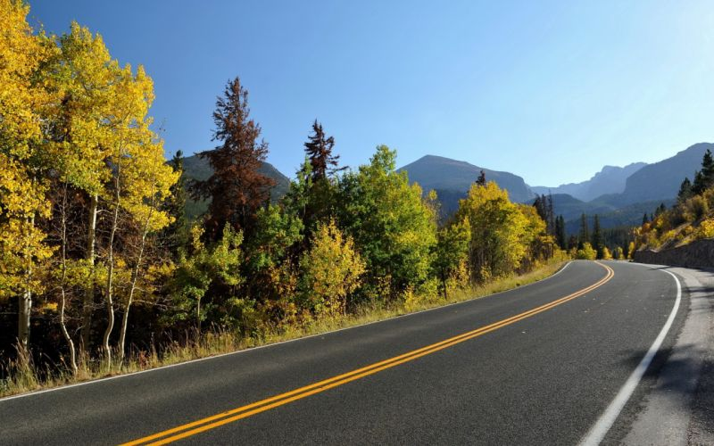 mountains landscapes trees autumn roads wallpaper