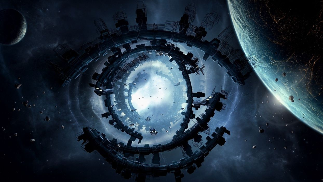eyes outer space planets Moon ships buildings fantasy art spaceships space station structure moons Big Bang wallpaper