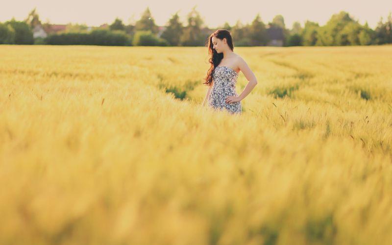 women fields outdoors HDR photography wallpaper