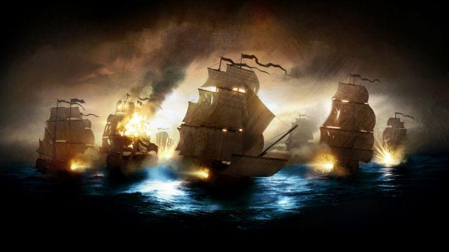 ships battles wallpaper