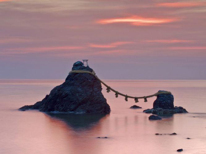 Japan nature dawn rocks wedding wallpaper