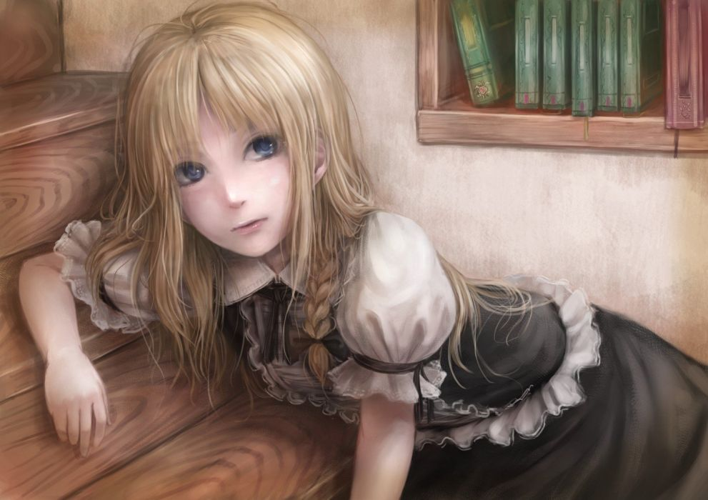 blondes video games Touhou dress blue eyes long hair books Kirisame Marisa bows realistic black dress braids soft shading witches hair ornaments wallpaper