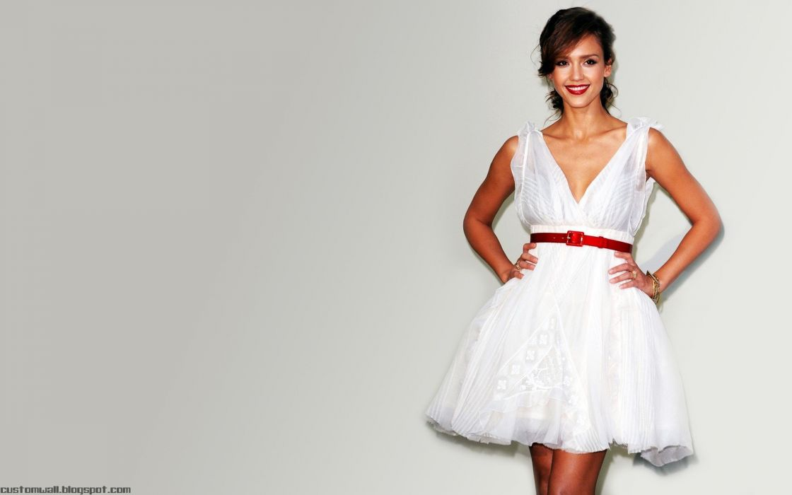 women Jessica Alba actress white dress wallpaper