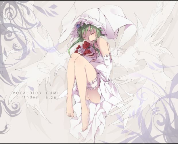 Vocaloid green hair closed eyes Megpoid Gumi wedding dresses roses anime girls wallpaper