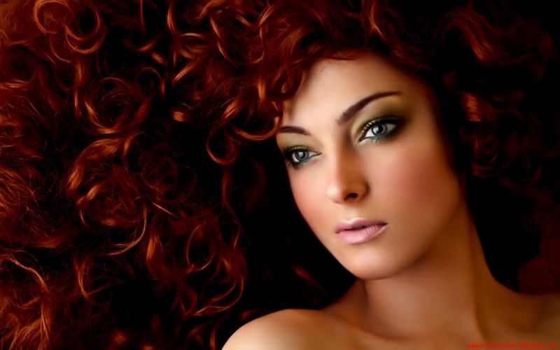 women redheads curly hair skin faces wallpaper