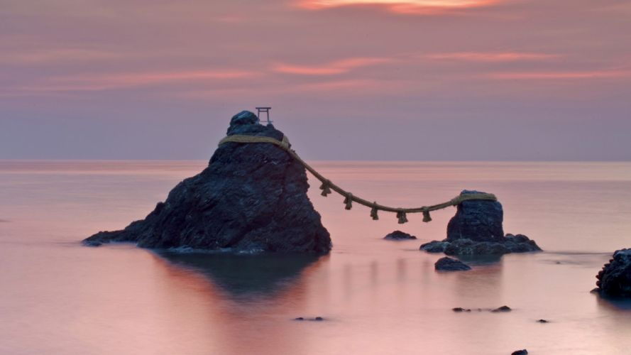 Japan dawn rocks wedding ropes sea wallpaper