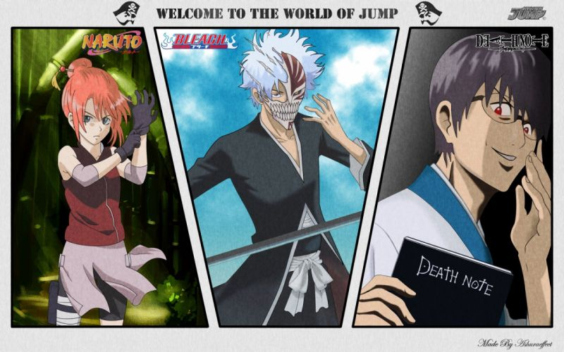 Death Note Bleach Naruto: Shippuden Gintama parody anime crossovers wallpaper