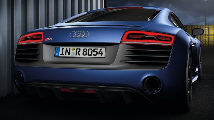 back cars Audi roads sports cars blue cars docks Audi R8 V10 rear view cars wallpaper