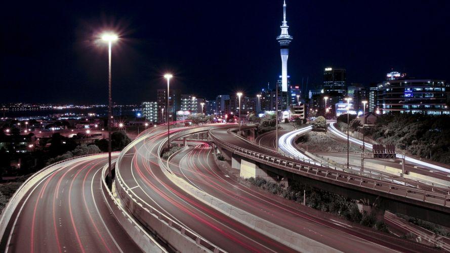 cityscapes buildings roads long exposure wallpaper
