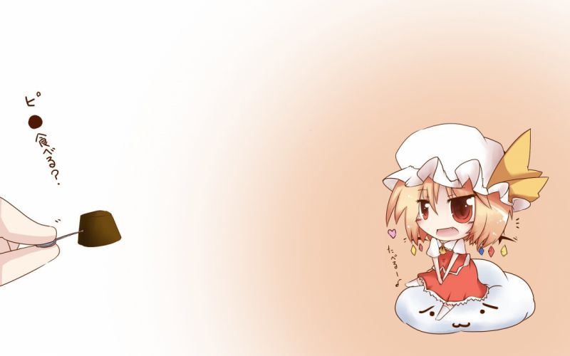 blondes Touhou wings chibi sweets (candies) red eyes Flandre Scarlet wallpaper