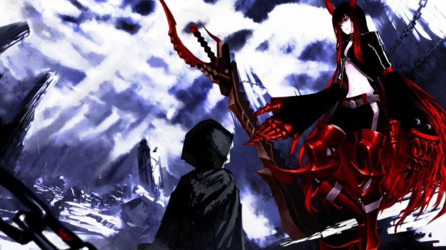red Black Rock Shooter buildings cloaks chains Black Gold Saw claws swords wallpaper