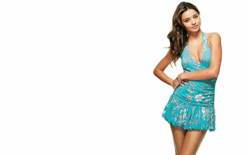 brunettes women Miranda Kerr dress wallpaper