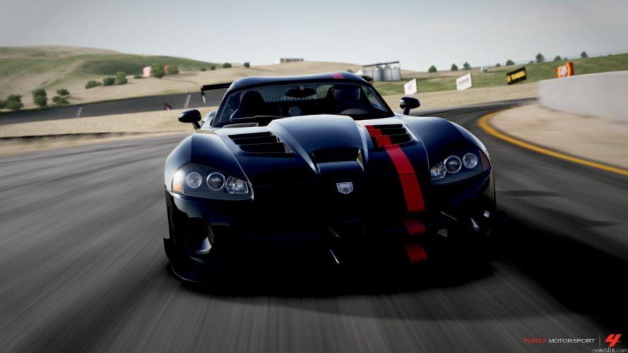 video games black cars Dodge vehicles Dodge Viper Dodge Viper SRT-10 front view Dodge Viper SRT-10 ACR Forza Motorsport 4 wallpaper