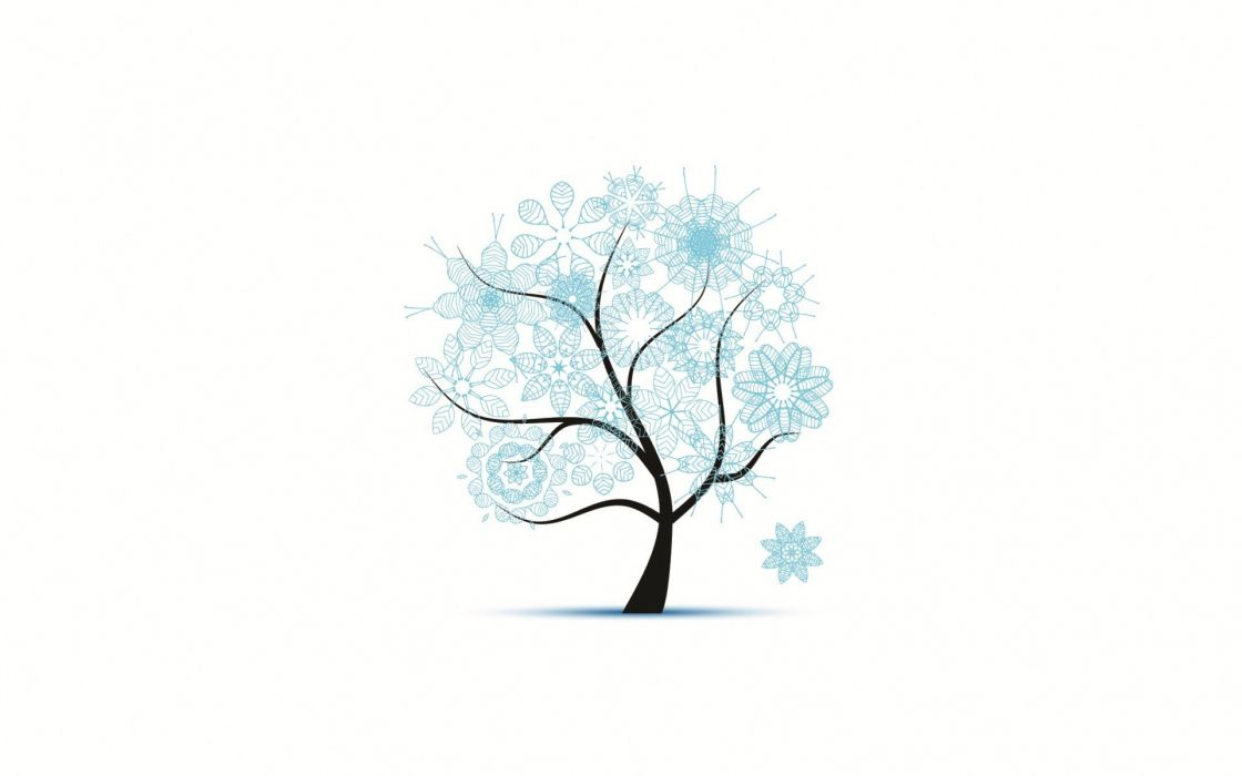 Snow Minimalistic Trees Simple Background White Background