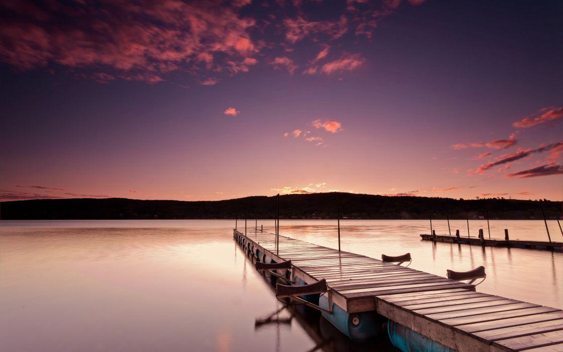 sunrise landscapes nature coast piers Canada calm Quebec lakes HDR photography sea wallpaper