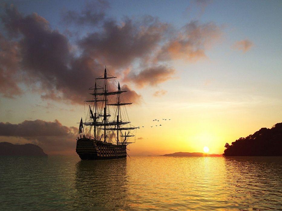 sunset ships digital art wallpaper