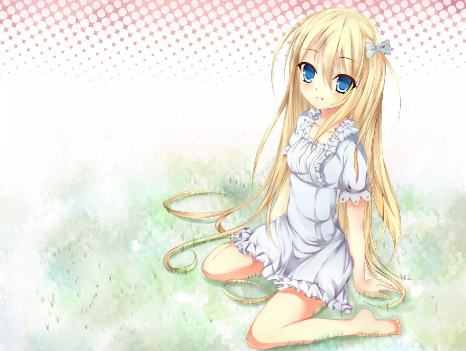 blondes dress blue eyes grass long hair barefoot anime girls wallpaper