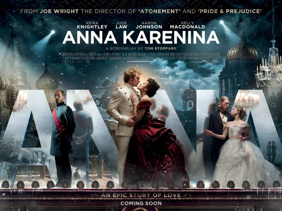 Keira Knightley Jude Law movie posters stage Kelly Macdonald gowns classics Russian romance Anna Karenina Aaron Taylor-Johnson wallpaper