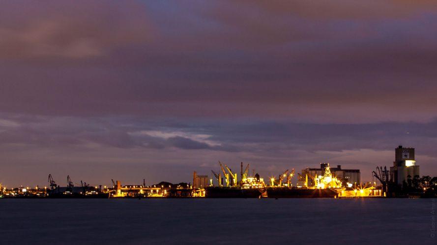 sunset landscapes night boats long exposure vehicles Harbor port rivers wallpaper