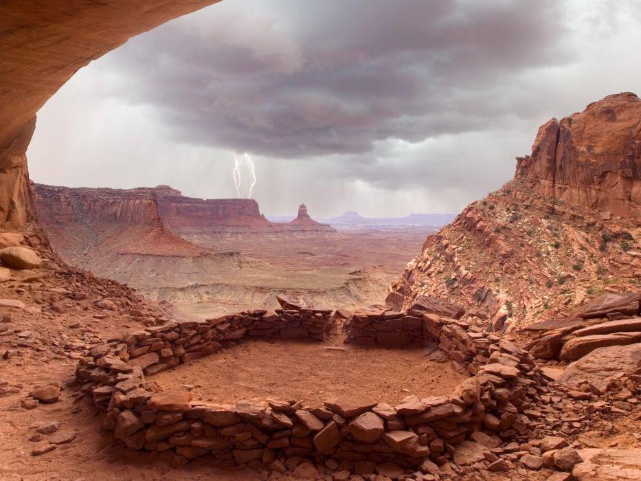 landscapes deserts rocks Utah overcast lightning National Park rock formations wallpaper
