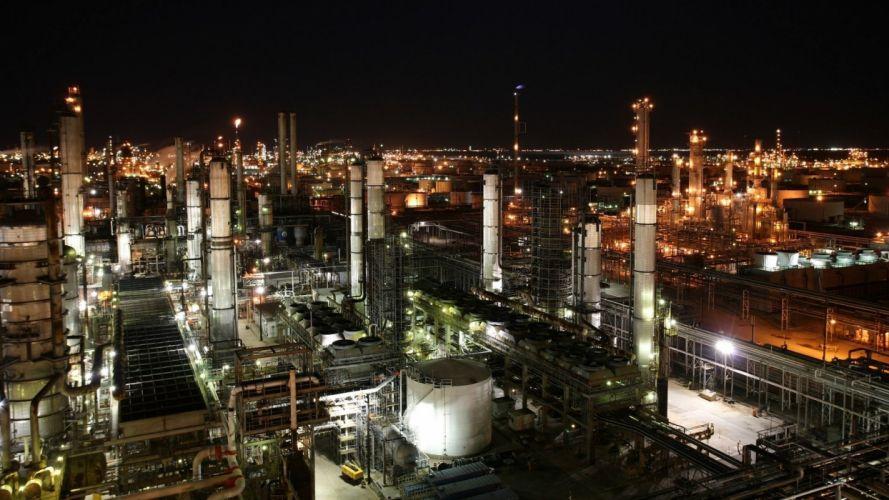 night industrial plants wallpaper