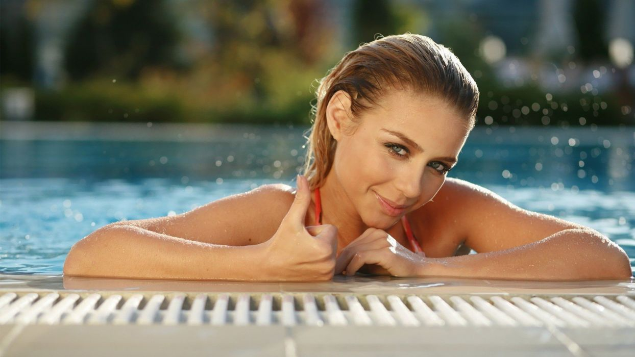brunettes women models swimming pools Tina Karol wallpaper