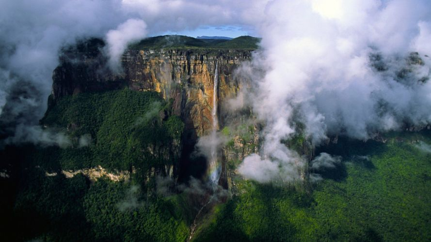 clouds landscapes venezuela waterfalls wallpaper